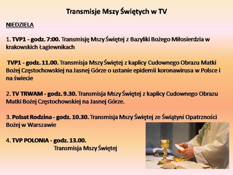 Transmisje Mszy św i nabożeństw w TV
